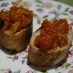 手作りフランスパンのトマトソース・ブルスケッタ