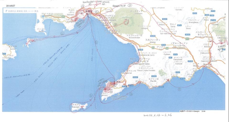 ナポリ周辺移動図