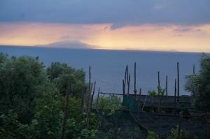Massa Lubrenseからはレモン畑越しにイスキア島やカプリ島が見える