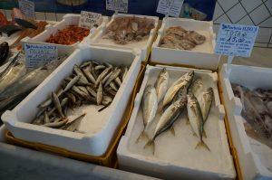ソレント郊外の小さな村の魚屋さんを覗いたらタコやイカもしっかり売っていた